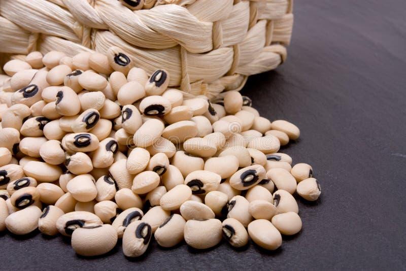 Black eyed peas. Overflowing from wicker basket against dark slate royalty free stock photos