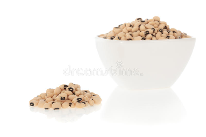 Black eyed peas beans in a bowl. Isolated on a white background stock image