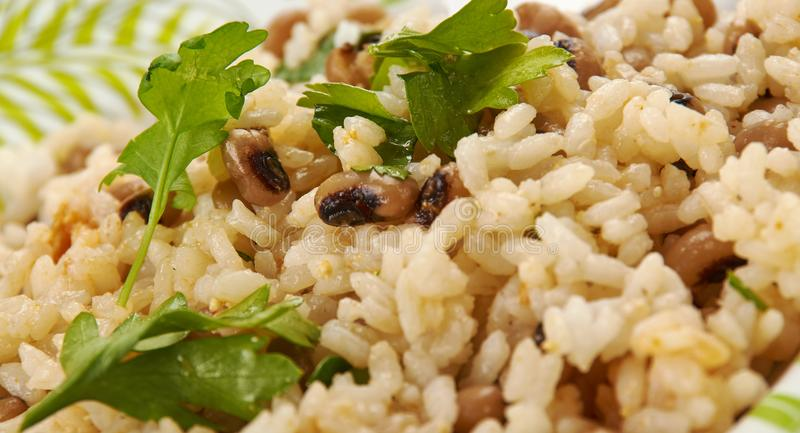 Black Eyed Peas e arroz fotografia de stock