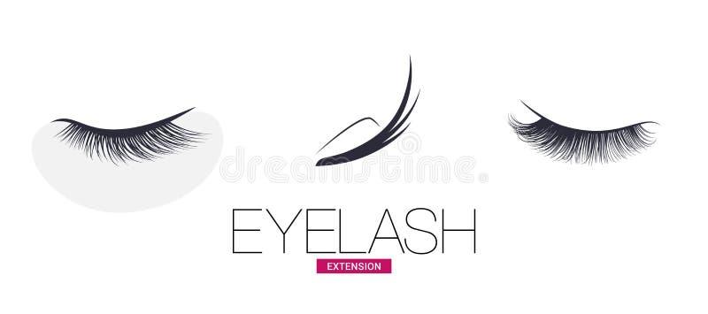 Black eyelash extension logo on white background stock illustration