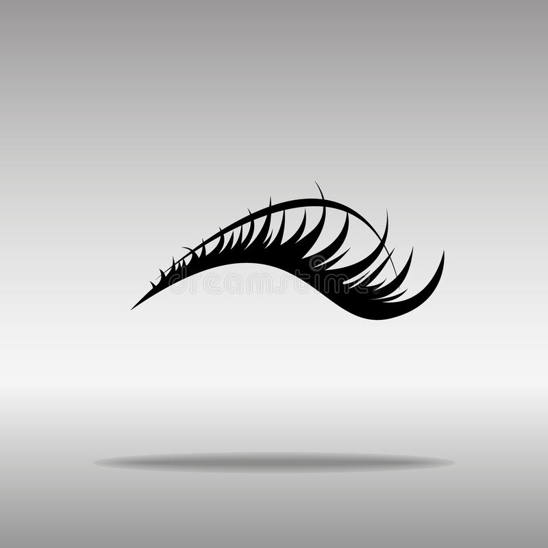 Black eyelashes Icon button logo symbol concept high quality. On the gray background vector illustration