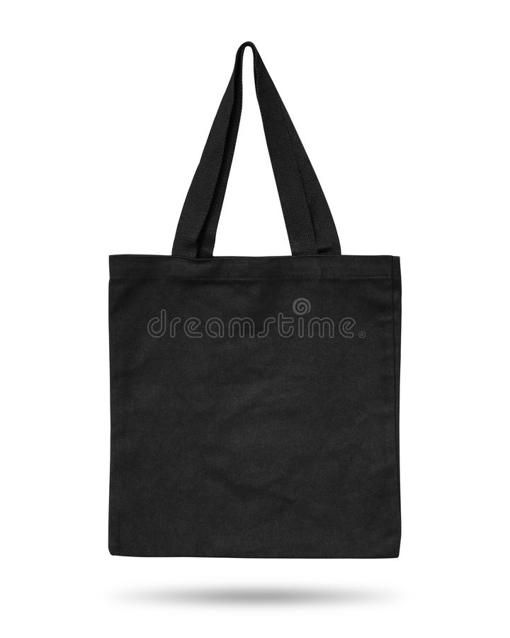 Black fabric bag isolated on white background. Cloth handbag for your design. Recycled material. Clipping paths object royalty free illustration