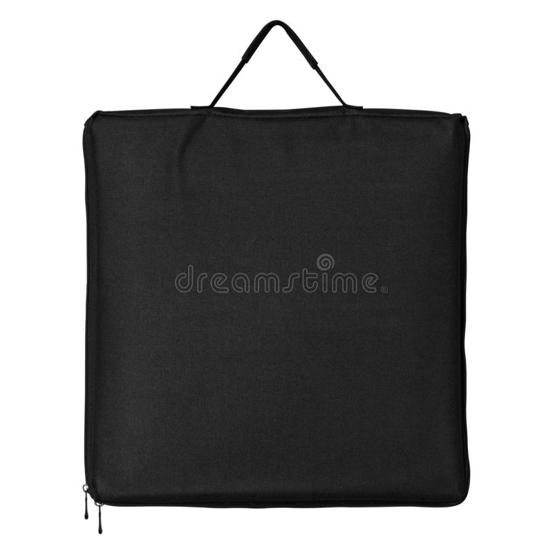 Black fabric bag isolated on white background. Shopping canvas bag for design. Clipping path. Black fabric bag isolated on white background. Shopping canvas bag royalty free illustration