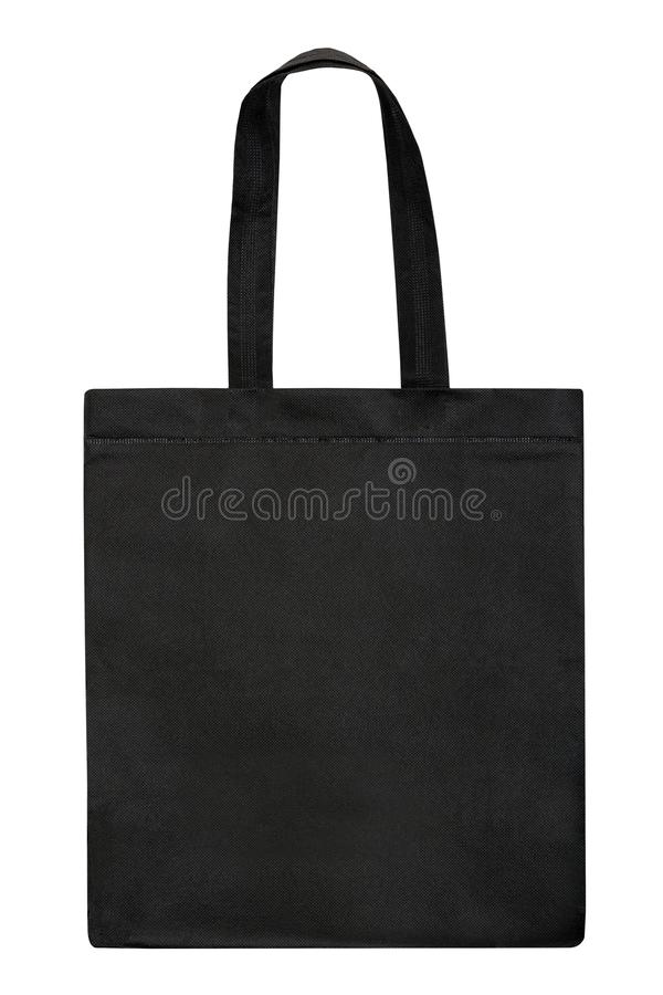 Black fabric bag isolated on white background. Black tote bag stock image