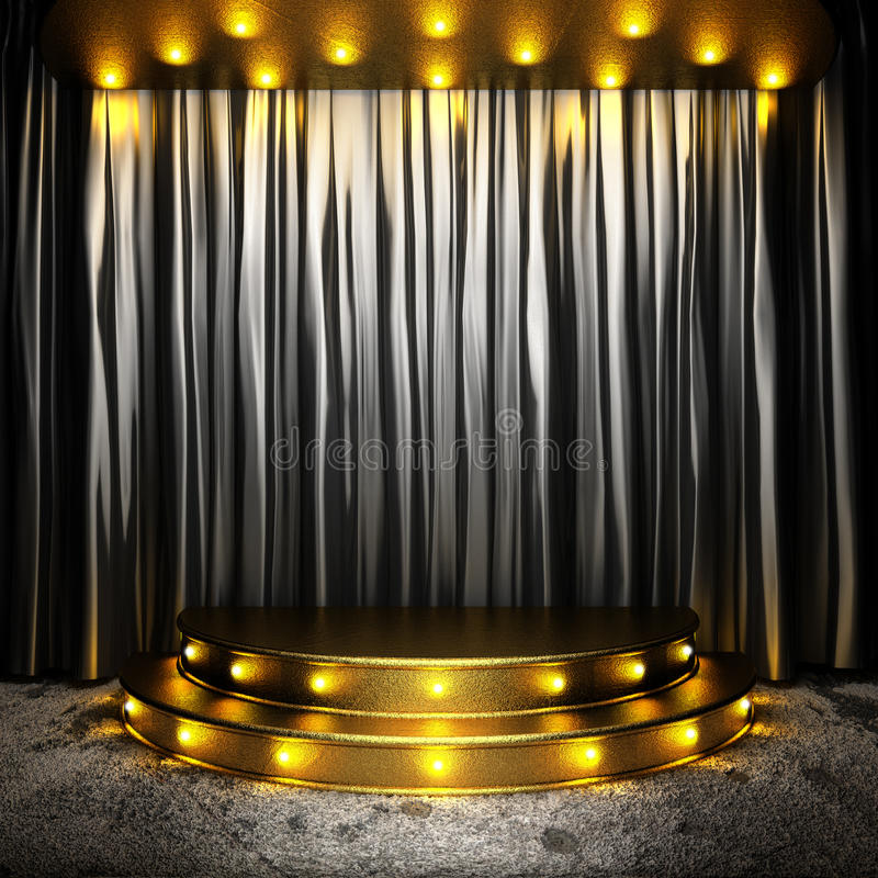 Black Fabric Curtain On Golden Stage Stock Illustration