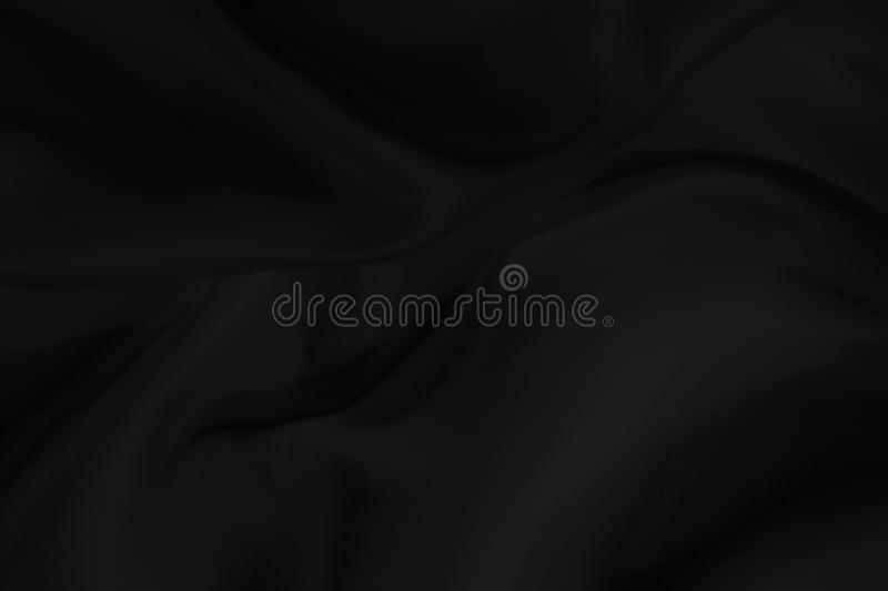 Black fabric texture for background, beautiful pattern of silk or linen. royalty free stock photography