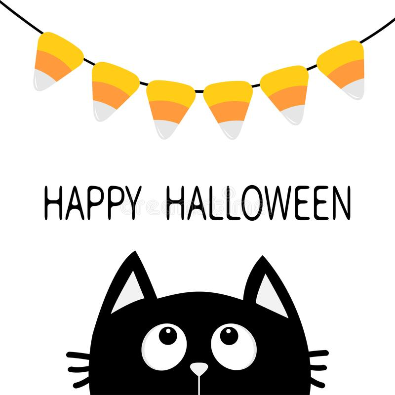 Black face head silhouette looking up to Bunting flags Candy corn. Flag garland. Happy Halloween card. Party decoration element. H stock illustration