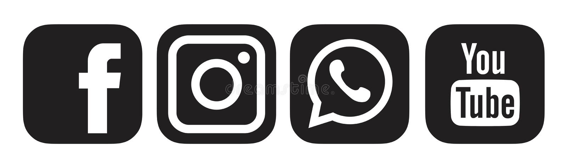 Black Facebook, Instagram, Whatsapp,Youtube Logo Icon. Editorial Photo -  Illustration of whatsapp, background: 170047726