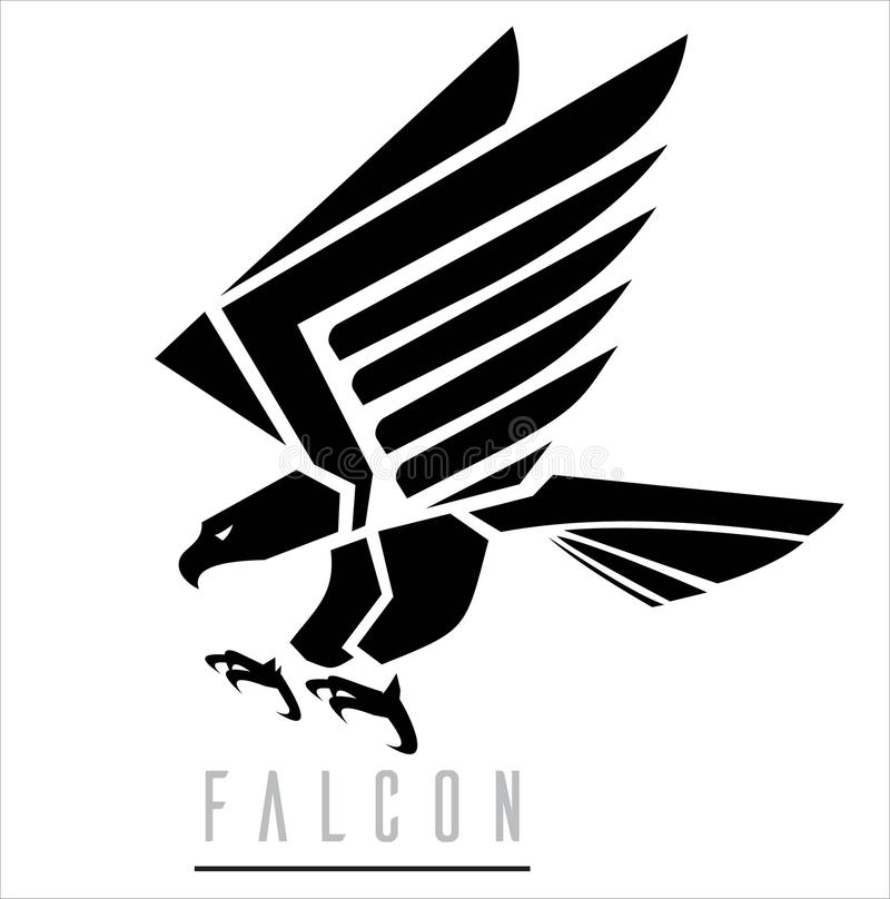 Black Falcon.Attacking Falcon. royalty free illustration