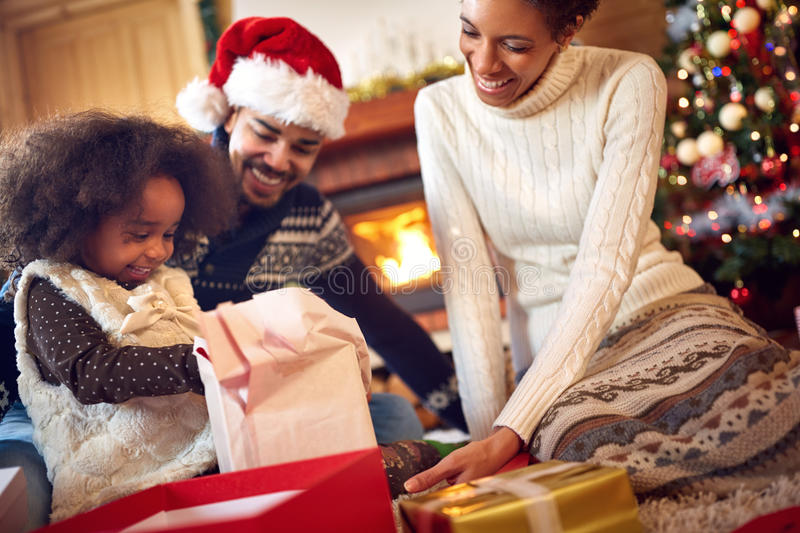 Download Black Family Together For Christmas Stock Photo