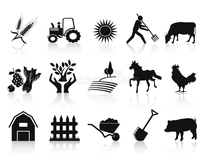 Download Black Farm And Agriculture Icons Set Stock Vector - Image: 25540612