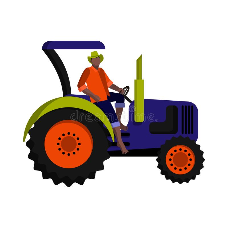 Black farm worker-tractor driver in a hat, orange shirt and blue jeans on the tractor royalty free illustration