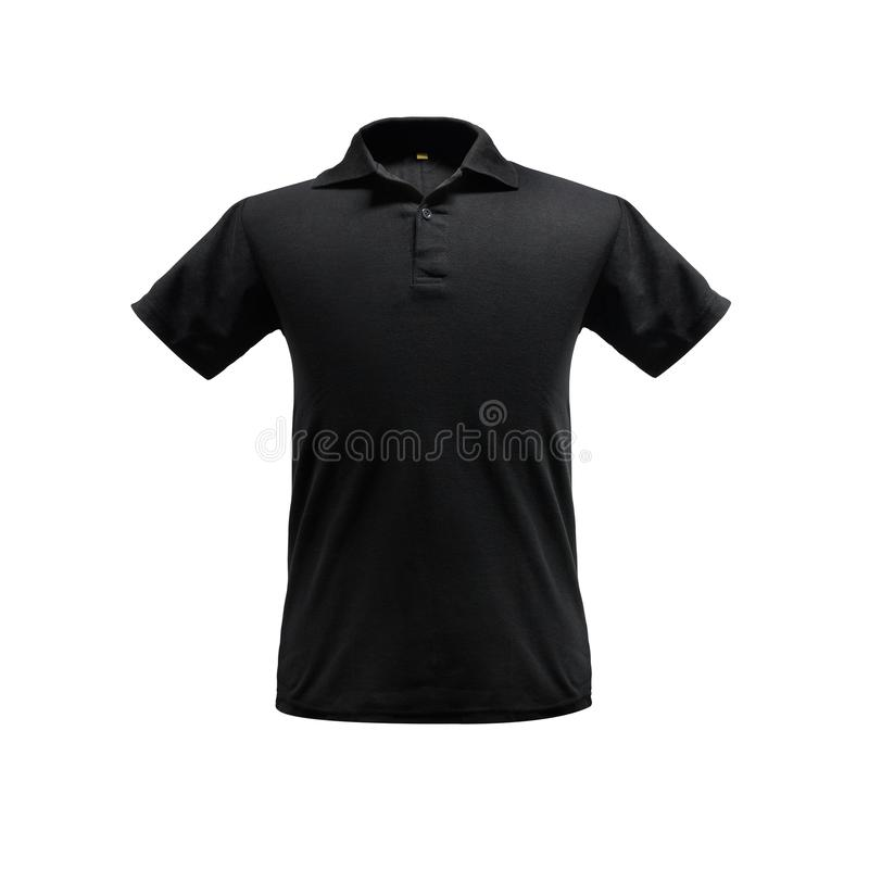 Black fashion polo shirt template on isolated background with clipping path. Black fashion polo shirt template on isolated background stock photography