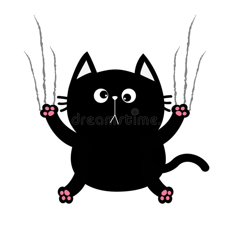 Black fat cat nail claw scratch glass. Cute cartoon funny character. Excoriation track line shape. Baby pet collection. White back royalty free illustration