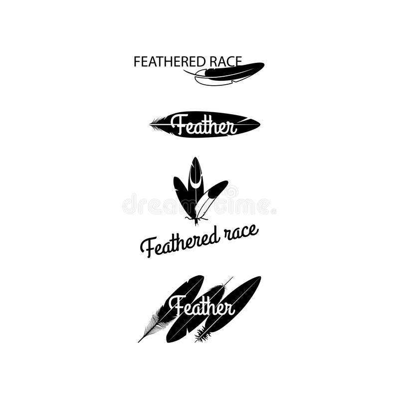 Black feathers silhouettes for logotype design royalty free illustration