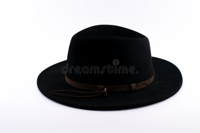 Black Fedora hat with a brown stripe stock images