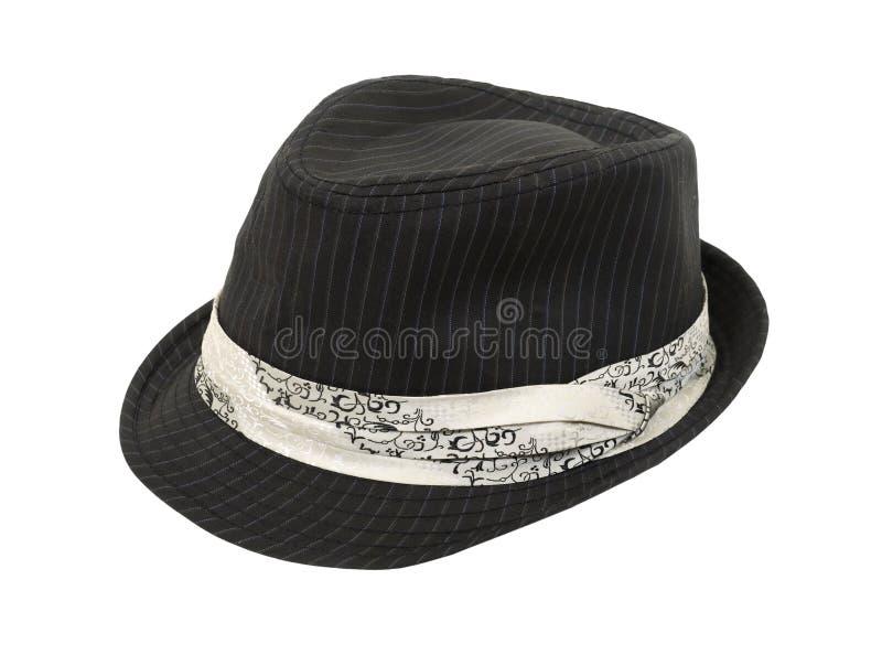 Black Fedora hat with white band. Black pinstriped Fedora hat with white band - path included stock photo