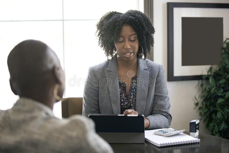 Black Female Businesswoman or CPA Accountant royalty free stock images