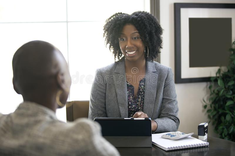 Black Female Businesswoman or CPA Accountant stock image