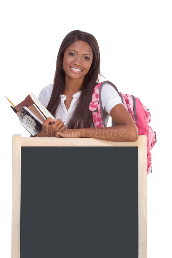 Download Black Female College Student By Blackboard Stock Photo - Image: 11007200