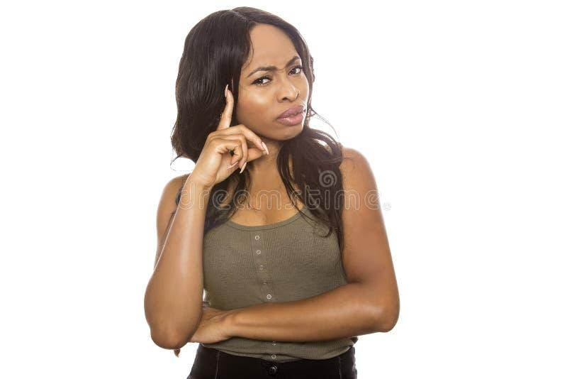 Black Female Confused royalty free stock image