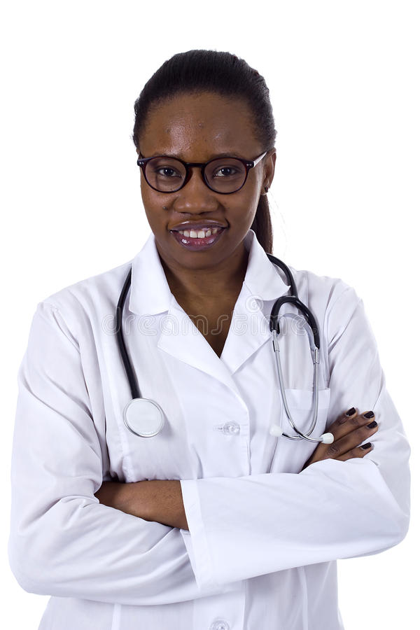 Black female doctor. Smiling over a white background stock images