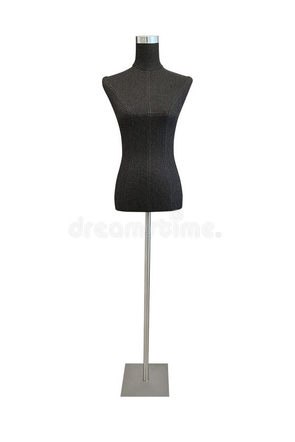 Black female mannequin for clothes isolated on white background stock photo