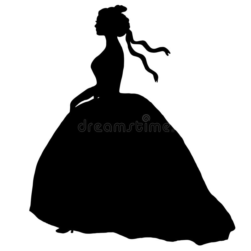 Black female silhouette in ball gone. Bride romantic illustration. Young model, profile royalty free illustration