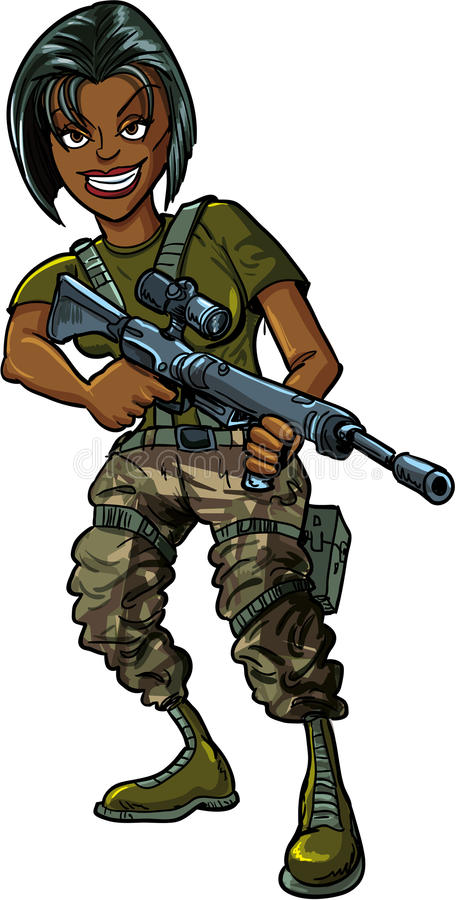 Download Black Female Soldier With Assault Rifle Stock Vector - Illustration of body, painting: 34187173