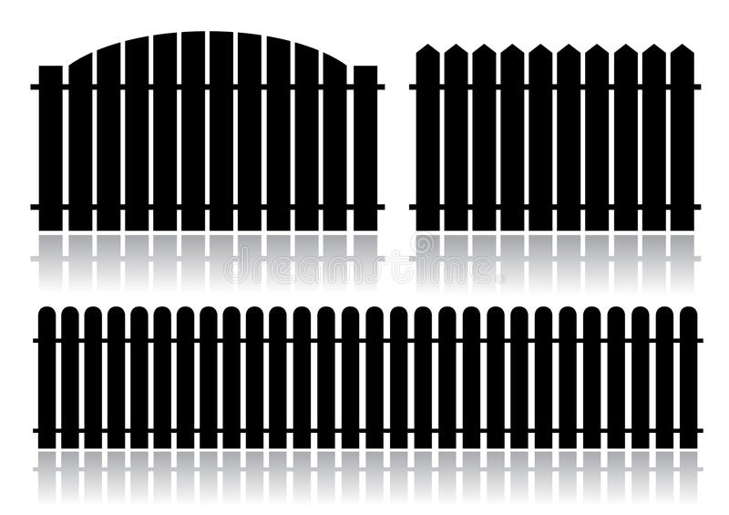 Black fence isolated on white vector illustration