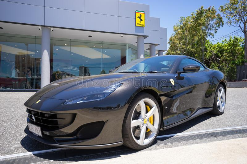 2018 Ferrari Portifino. A black Ferrari Portifino on display during the opening day of the Ferrari Showroom in the Gold Coast in Southport in Australia. The royalty free stock photos