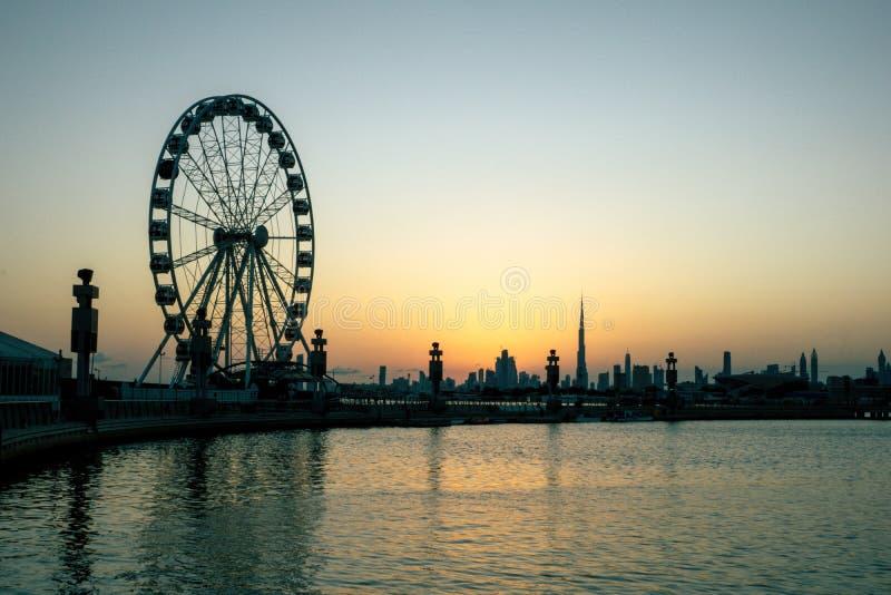 Black Ferris Wheel Near Body of Water royalty free stock image