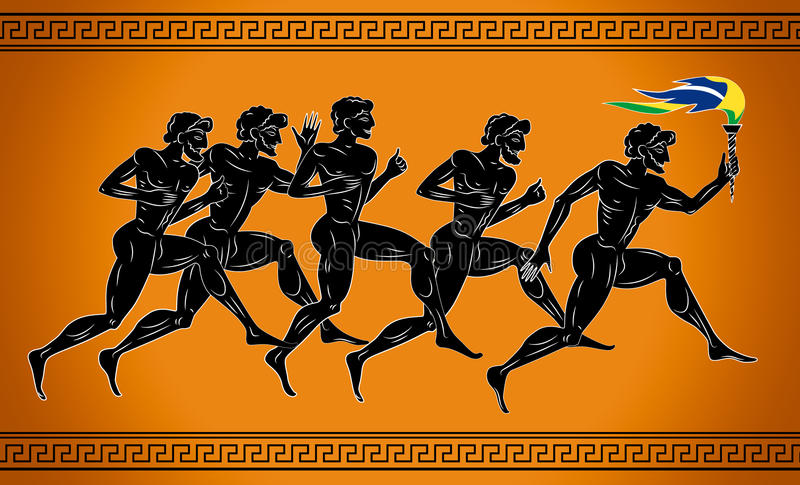 Download Black-figured Runners With The Torch In The Colors Of The Brazilian Flag. Illustration In The Ancient Greek Style. Stock Vector - Image: 71717529