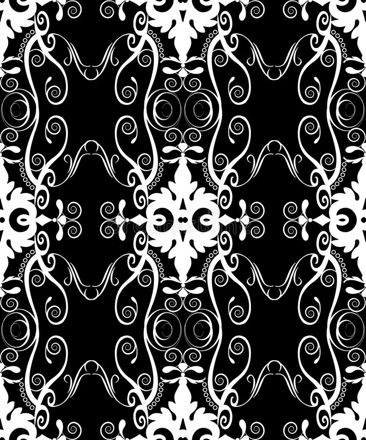 Black filigree damask stock illustration