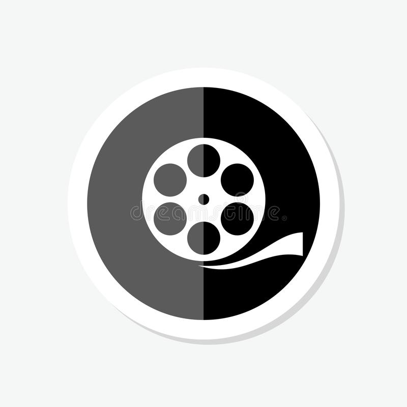 Black Film reel sticker icon isolated on black background. royalty free illustration