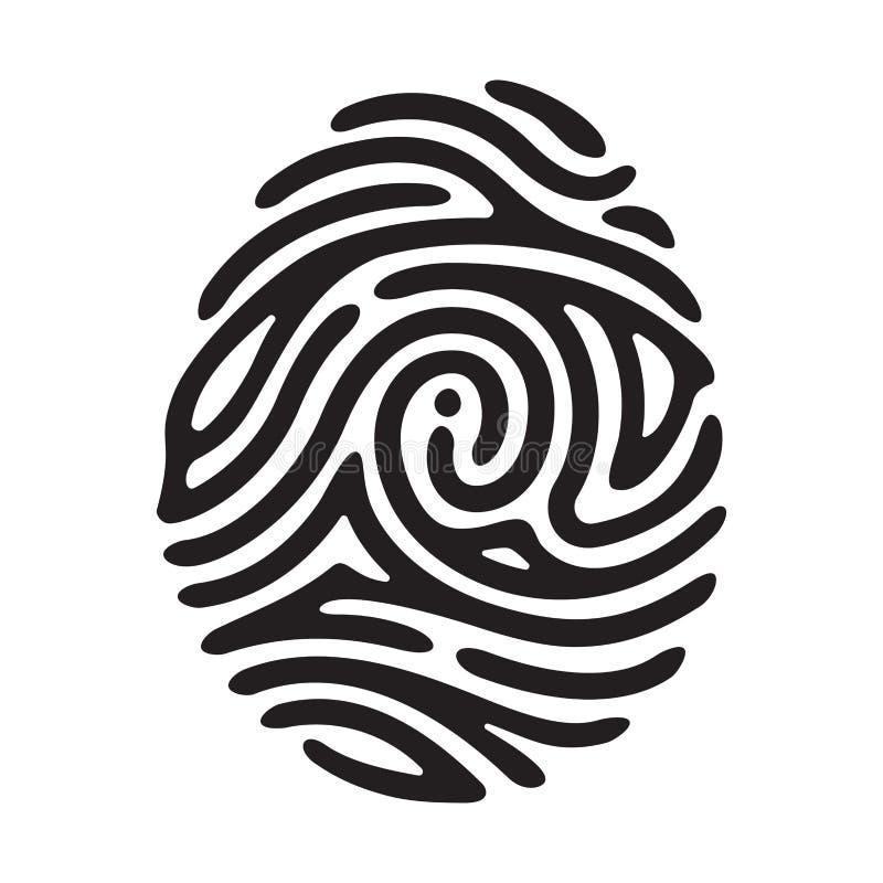 Black finger print. Vector black I finger print isolated on white background vector illustration