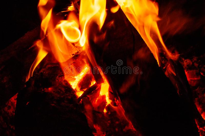 Black fire in the darkness stock photos