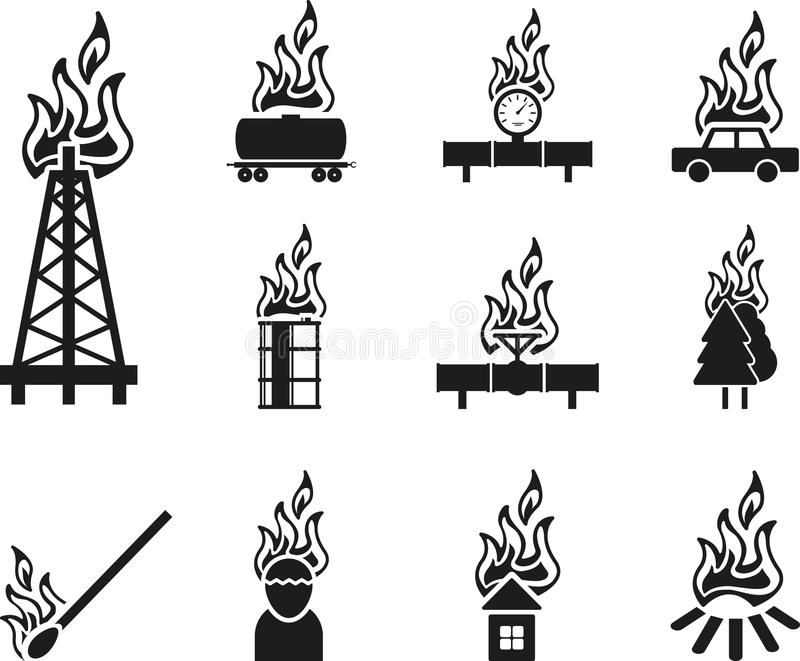 Black fire icon stock illustration