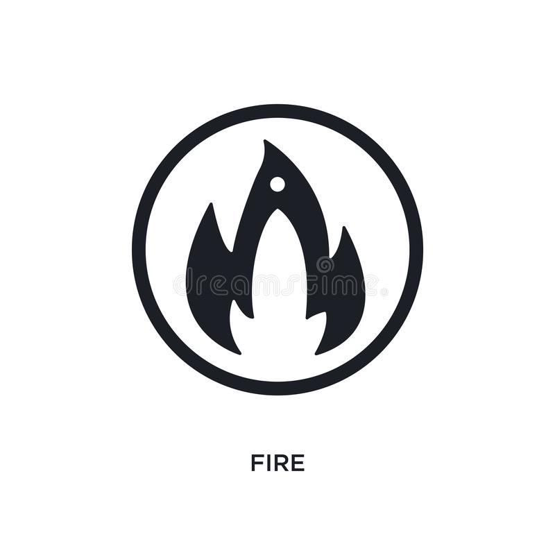 black fire isolated vector icon. simple element illustration from traffic signs concept vector icons. fire editable logo symbol royalty free illustration