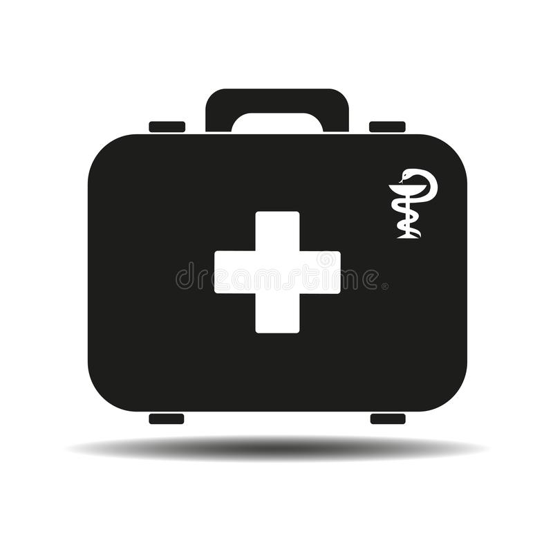 Black first aid kit isolated on white background. Health, help and medical diagnostics concept. Flat design. stock illustration