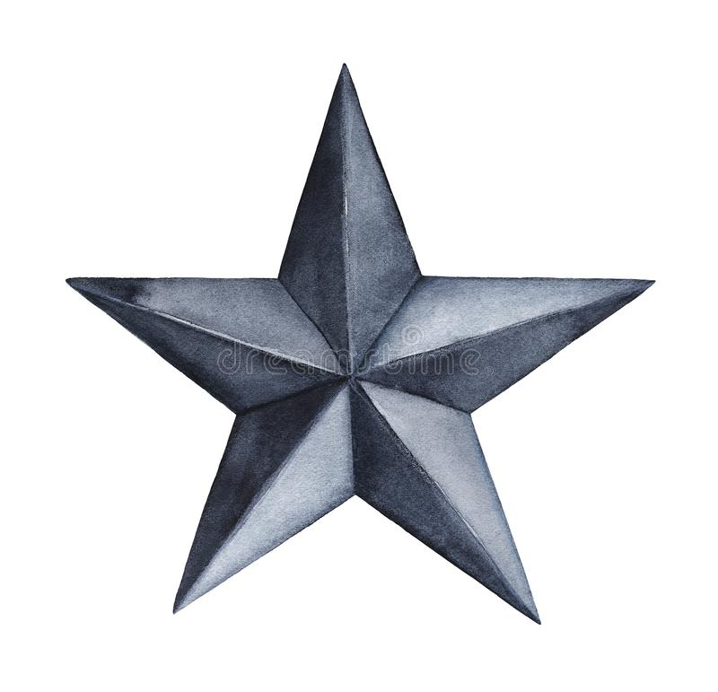 Black five pointed star. One single object. Symbol of magic, power, heavens, creation. Hand drawn watercolour graphic painting on white background, isolated royalty free stock photography