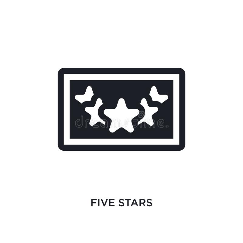 Black five stars isolated vector icon. simple element illustration from accommodation concept vector icons. five stars editable. Logo symbol design on white stock illustration