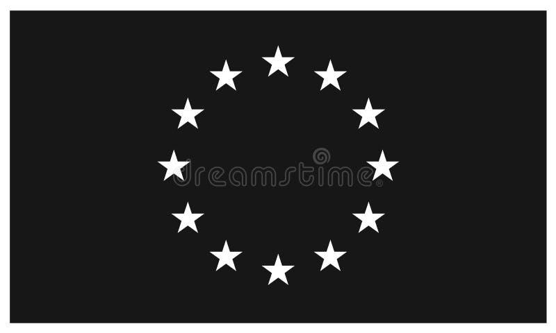 Black flag of European Union vector illustration
