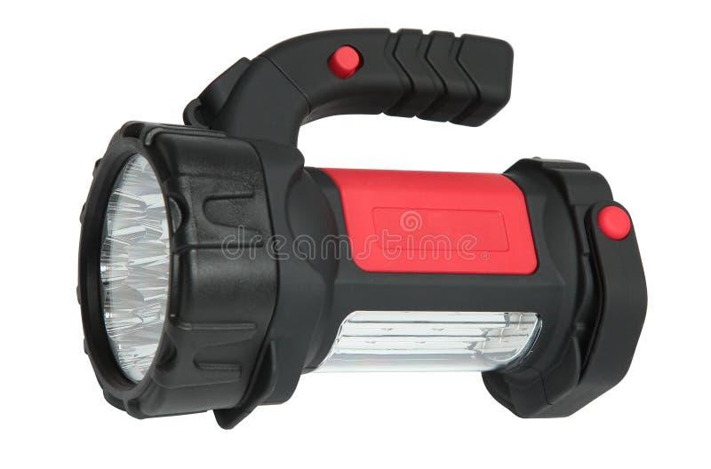 Black flashlight isolated on a white background. stock photography