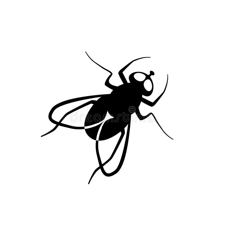 Black flat fly vector icon. Fly vector simple sign. Black flat icon stock illustration