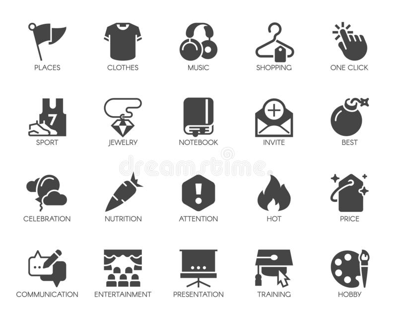 20 black flat icons on sports, lifestyle, hobbies, online shopping and education theme. Vector isolated. 20 black flat icons on sports, lifestyle, hobbies stock illustration
