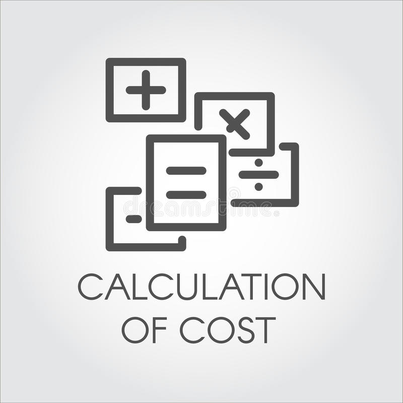 Black flat line vector icon of calculation of cost concept. Symbol estimate outlay. Dealing with debit and credit vector illustration