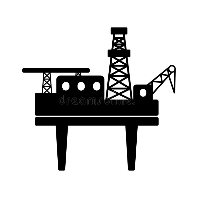 Black flat offshore drilling platform with a helipad vector icon stock illustration