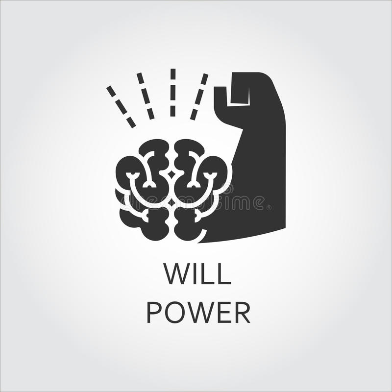 Black Flat Vector Icon Willpower As Brain And Muscle Hand ...