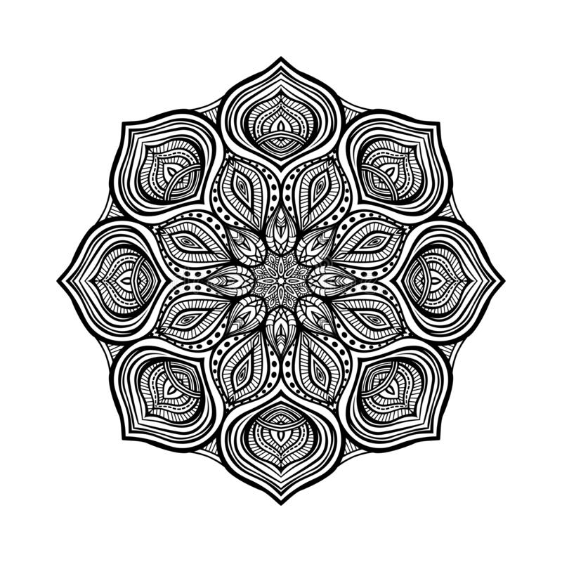 Black floral circular pattern on white background. Coloring book for adults. Vector illustration vector illustration